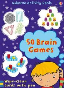 USΒORNE ACTIVITY CARDS 50 BRAIN GAMES WIPE-CLEAN CARDS WITH PEN