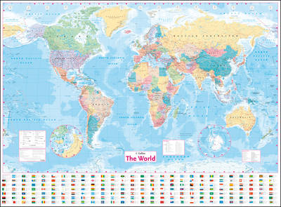 COLLINS WORLD WALL LAMINATED MAP  POSTER